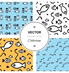 Fish seamless background set vector