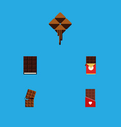 Flat icon cacao set of delicious chocolate vector