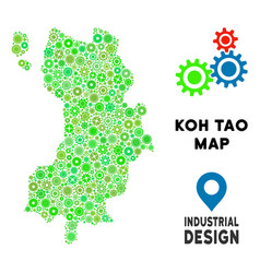 Gears koh tao thai island map mosaic vector