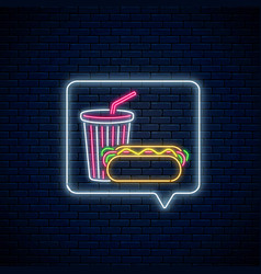 glowing neon sign hot dog and soda drink cup vector image