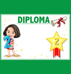 Grade two diploma certificate vector