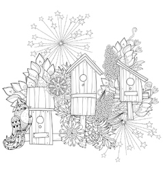 Hand drawn doodle outline spring nesting box vector image