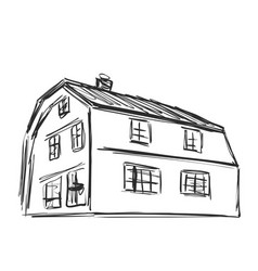 Hand drawn house sketch doodles building vector