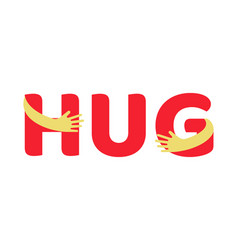 hands hugging red hug text vector image