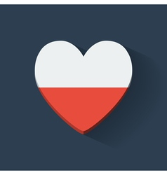 Heart-shaped icon with flag of Poland vector