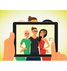 Hipster guy and his pretty girlfriends vector image