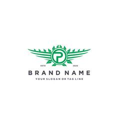 Letter p leaf wing logo design concept vector