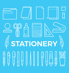 line style stationery icons collection vector image