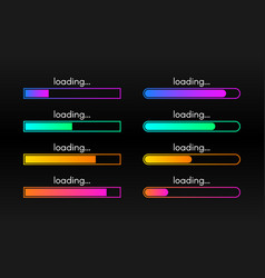 loading bar set on dark backdrop progress vector image