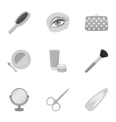 Make up set icons in monochrome style Big vector