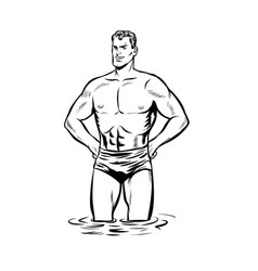Man swimmer in swimming trunks black and white vector