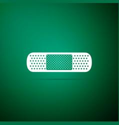 medical bandage plaster icon on green background vector image