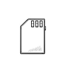 memory sd card hand drawn outline doodle icon vector image