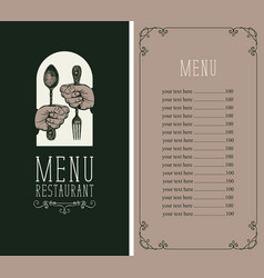 menu for restaurant with cutlery in hands vector image