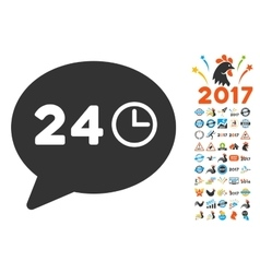 Message Hours Icon With 2017 Year Bonus Pictograms vector