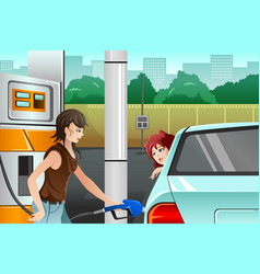 People filling up gasoline at the gas station vector
