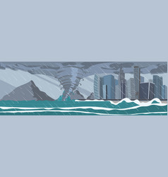 picture impending hurricane on the city vector image