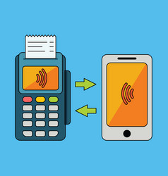 Pos-terminal processing mobile payments vector