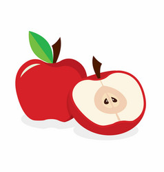 red apple on the white background vector image