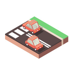 Red cars traveling along road highway vector