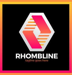 Rhomb line logotype vector