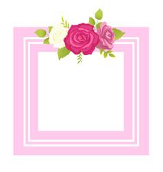 Rose white pink purple flower photo frame greeting vector