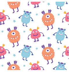 Seamless pattern cute scary halloween monsters vector