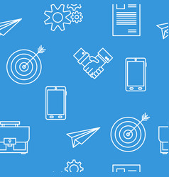 seamless pattern with office business icons vector image vector image