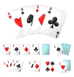 Set casino gambling aces cards for design vector