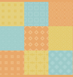 set nine seamless geometrical patterns vintage vector image