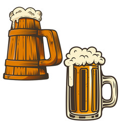 set of beer mug on white background design vector image