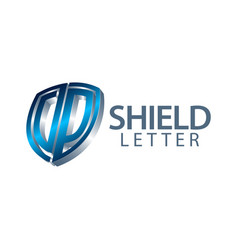 shield initial letter dp logo concept design vector image
