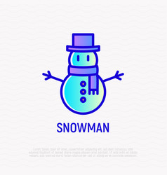snowman in hat and scarf thin line icon modern vector image