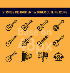 string instrument icon set outline icons base on vector image