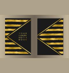 Stripe gold foil cover set vector