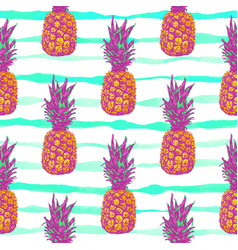 summer tropical pattern with pineapple vector image