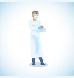 surgeon ready for heart transplantation vector image