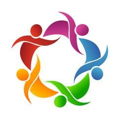 teamwork group of friends logo vector image