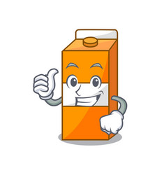 thumbs up package juice character cartoon vector image