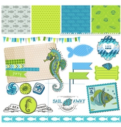 Tropical Fish and Sea Horse Theme vector image