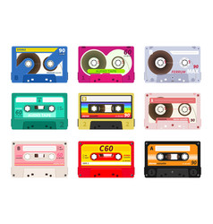vintage music cassettes retro dj sound tape vector image