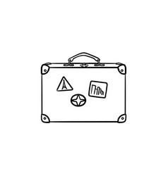 vintage travel suitcase hand drawn outline doodle vector image