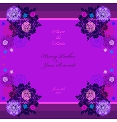 Winter wedding frame with violet and blue vector image
