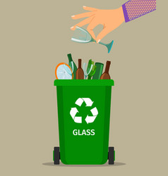 Woman hand throws glass garbage vector