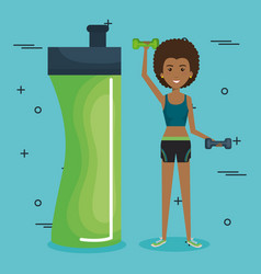 woman weight lifting with sports icons vector image
