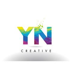 Yn y n colorful letter origami triangles design vector