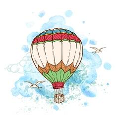 Air balloon and watercolor blots vector image vector image