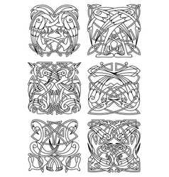 Heron stork and crane celtic ornaments vector image vector image