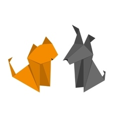 Origami Paper Dog and Cat Set vector image vector image