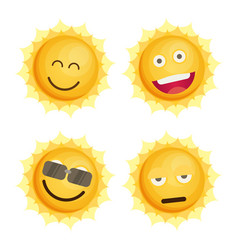 sun icon set flat vector image
